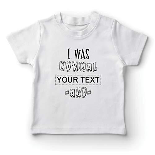 lepni.me Camiseta para Niño/Niña Personalizado Era Normal Texto Personalizado Hace un Regalo Personalizado (1-2 Years Blanco Multicolor)