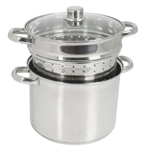 Crealys 504626, Cuit-pâtes Olympe 8 litres Inox, diam. 24 cm - couvercle en verre et panier à pâtes / légumes - tous feux dont induction