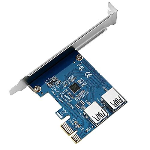 JMT PCIe 1 a 2 PCI Express 1X Riser Card 2 en 1 PCI-E Tarjeta de expansión 2 puertos USB3.0 adaptador para Bitcoin dispositivo minero Rabbet Ethereum Mining ETH