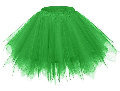 FEOYA Falda Tutu de Ballet para Mujer Skirt Corta Elegante con Capas Cintura Elástica Disfraz Fiesta Verde 38CM