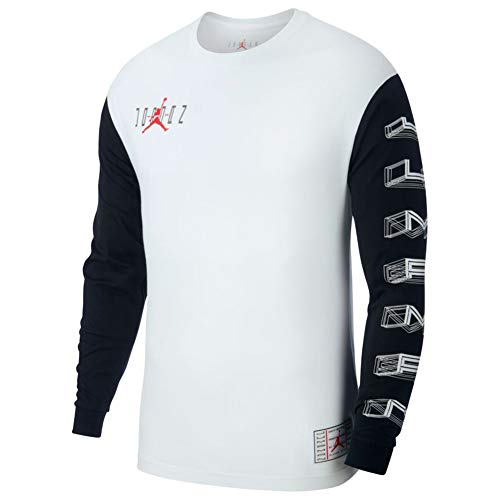Nike Jordan Legacy AJ11 Long-Sleeve Coloblack T-Shirt CU1072-100 Size M White