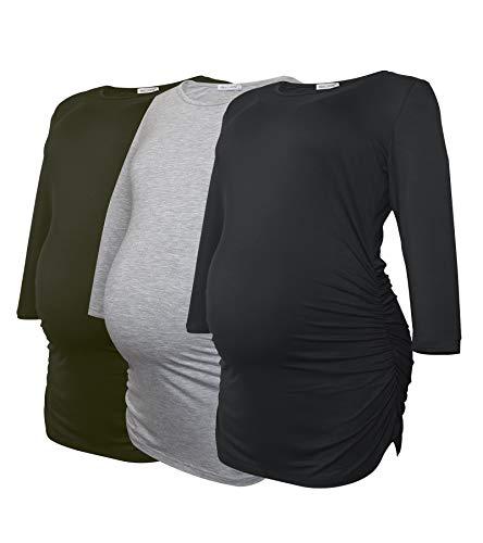 Smallshow Haut de Maternité pour Femmes Lot de 3 Vêtements de Grossesse à Manches froncées 3/4,Black/Grey/Army Green,S
