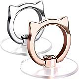 猫 透明 スマホリング ネコ 落下防止リング ホールドリング 薄型 スタンド 車載ホルダー 360回転 iPhone/Android各種他対応 (猫型1個バラの金+1個銀)