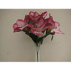 Mauve Amaryllis Artificial Flowers Greens Leaves