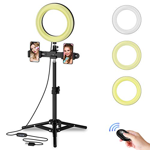 """Selvim 8"""" Selfie Ring Light with Tripod Stand, 3000-6000K LED Ring Light Kit for Live Stream/YouTube Video/Vlogs/Desktop Makeup, Compatible with iOS Android iPhone Google Phone - Black(Upgraded one)"""
