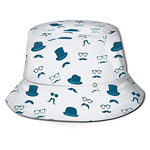 AOOEDM Bigote Bigote Gafas de Sol Azul Marino Villain Mafia Sombrero de Cubo con Estampado Unisex Sombreros de Pescador Sombrero de Pesca Gorra Plegable Reversible de Verano Mujeres Hombres Sombrero