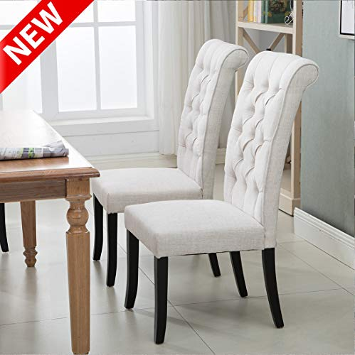 DANGRUUT Upgraded Version Luxurious Dining Chair Set of 2, Best Thickened Upholstered Accent Side Chair, More Comfortable Armless Chair with Elegant Button Tufting and Solid Wood Legs (Beige)