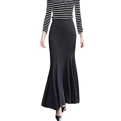 TEERFU Womens Vintage Fishtail Long Skirt Mermaid Pleated Bodycon Skirt High Waist