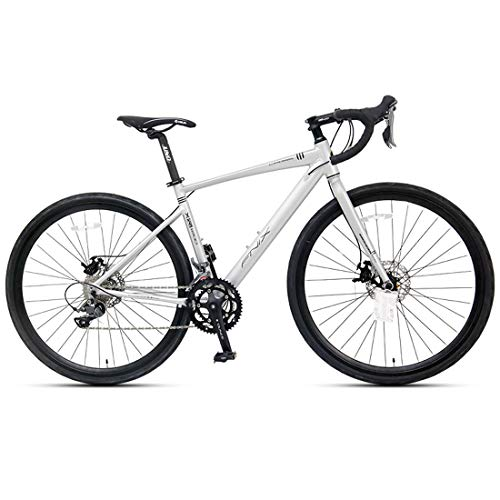 WYZQ Bicicleta De Carretera De 27.5 Pulgadas, Bicicleta De Montaña De 16 Velocidades, Cuadro De Aleación De Aluminio 700C, Freno De Disco Hidráulico, Solo para Adultos,Curved Handle Silver White