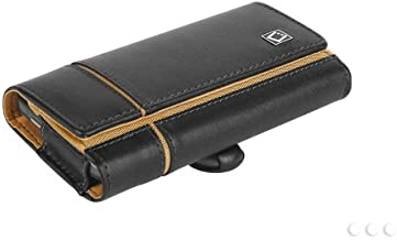 Alcatel OneTouch Pixi Glitz (Tracfone) Horizontal Verona Brown Leather Case Pouch Built In Magnetic Flap and Leather Wrapped Belt Clip and Soft Interior Material