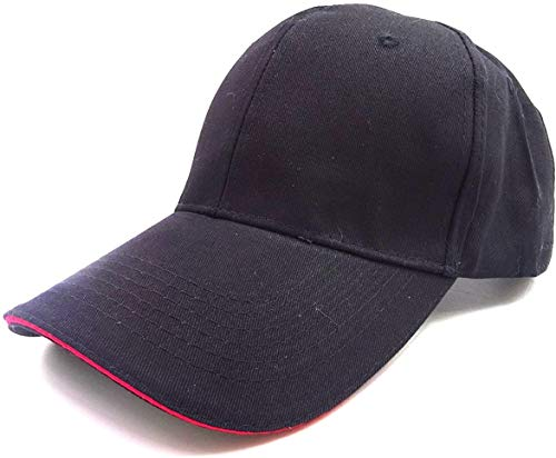 (京都 おかげさまで) 大きいサイズ 野球帽 無地 ビッグサイズ 綿100% 大きい帽子 最大65CM 選べるカラー (ブラック-レッドライン)
