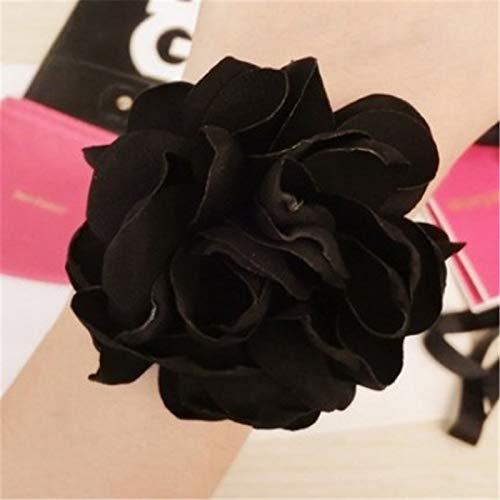 miaoyu Bridas elásticas para el cabello para niñas, 1 pieza de soporte para coleta de rosa, cinta elástica para el pelo, para corbatas femeninas, accesorios para el cabello para niñas (color negro)