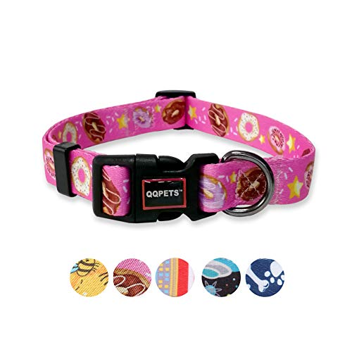 QQPETS Dog Collar Personalized Soft Comfortable Adjustable Collars for Small Medium Large Dogs Outdoor Training Walking Running (S, Pink Donut)