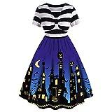 Vestido de Halloween con estampado vintage, línea A, a rayas, para mujer, extragrande azul M-36/38/40