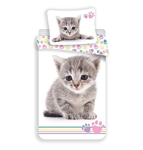JFabrics - Juego de funda nórdica de 140 x 200 cm y funda de almohada (100% algodón), diseño de gato