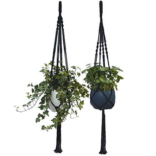 Herbgrown - Colgador de macramé negro con borla, 2 unidades, mismo tamaño, 4 patas, macetas colgantes para interior para decoraciones