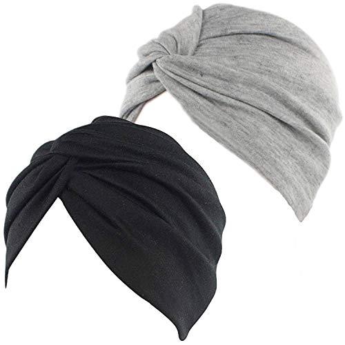 2 Piezas Pañuelos Gorros de Dormir Turbante para Mujer Algodón Elástico Pañuelos Cabeza Mujer Frontal Cruzado Gorro Turbante para Mujer Pérdida de Pelo (Negro+Gris)