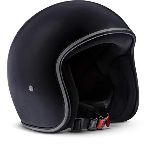 "Rebel · R2 ""Matt Black"" (Schwarz) · Jet-Helm · Mofa Chopper Retro Scooter-Helm Motorrad-Helm Roller · Fiberglass · Extra small Shell · Click-n-Secure™ Clip · Tragetasche · S (55-56cm)"