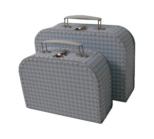cargo Vintage Travelers Mini Suitcases, Set of 2, Gingham Print Light Blue/White