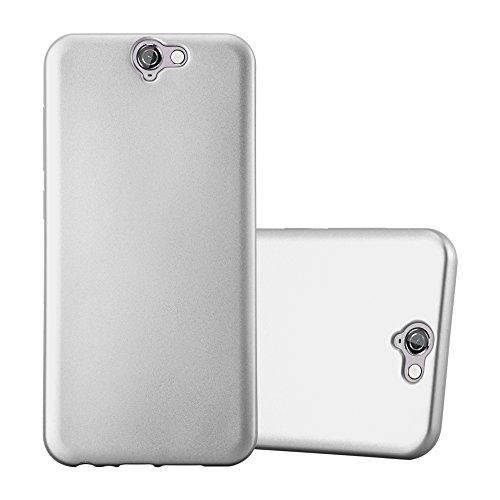 Cadorabo Hülle für HTC ONE A9 - Hülle in METALLIC Silber – Handyhülle aus TPU Silikon im Matt Metallic Design - Silikonhülle Schutzhülle Ultra Slim Soft Back Cover Case Bumper