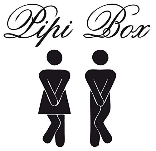 DD Dotzler Design Wandtattoo Möbelaufkleber Türaufkleber PIPI Box 30 x 30 cm Bad Toilette Klotür Tür Toilettentür schwarz