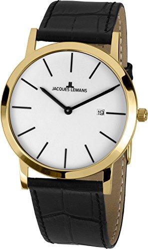 Jacques Lemans Unisex-Armbanduhr Classic Analog Quarz Leder 1-1727D