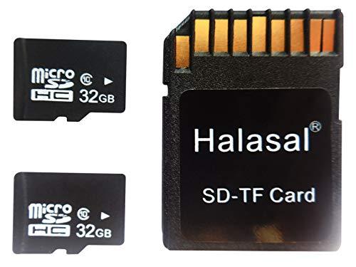 Halasal - Scheda di memoria SD C10 da 32 GB, classe 10, Micro SD TF Card SDHC Flash con adattatore (32 GB, 2 confezioni con 1 adattatore)