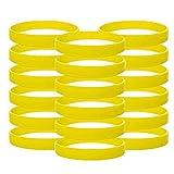 Vitalite 100pcs/set Plain Silicone Wristbands Blank Rubber Bracelets for Adult Yellow