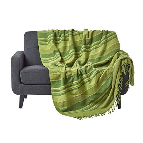 Homescapes Tagesdecke / gestreifter Sofaüberwurf Morocco in Grün 150 x 200 cm – handgewebt aus 100% reiner Baumwolle mit Fransen
