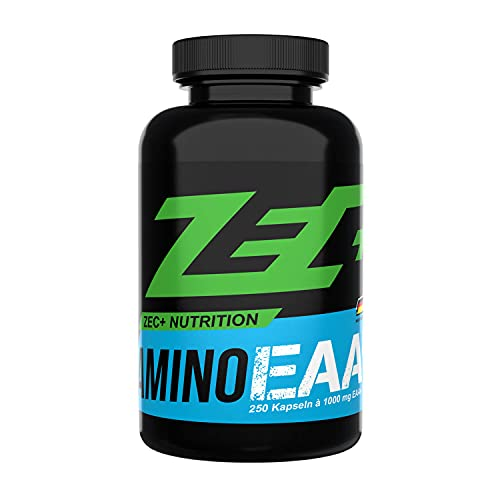 ZEC+ Amino EAA Caps, 250 Kapseln, essentielle Aminosäuren, hochdosiertes Aminosäure Pulver in Kapselform, 8 EAAs & wertvolle Vitamine, Made in Germany