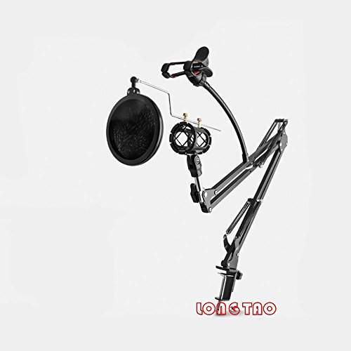 LONG TAO Professional Broadcasting Recording Microphone Audio Microphone Bracket With Mobile Phone Holder Set