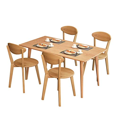 mecor Oak Dining Table Set for 4, 5-Piece Solid Oak Wood Dining Table with 4 Chairs for Dining Room and Kitchen Furniture, Oak Finish