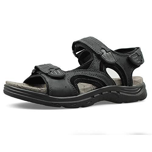 Y-hm diseño cómodo Sandalias de Arena de Moda para Hombre de Alto carácter de Cuero Genuino Tonto Transpirable de Punta Abierta y Zapatos de Bucle Salvaje (Color : Black, Size : 40 EU)