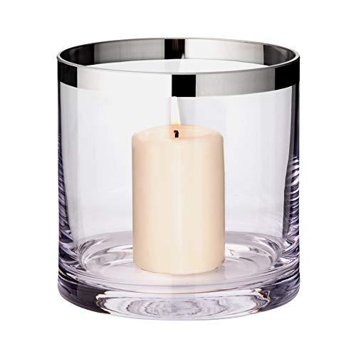 EDZARD Windlicht Molly, mundgeblasenes Kristallglas mit Platinrand, Höhe 15 cm, Durchmesser 15 cm, für Stumpenkerze