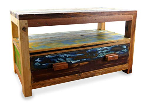livasia Java Sideboard aus Teakholz | TV-Bank aus Massivholz | Phonoschrank/HiFi-Möbel der Marke Asia Wohnstudio (Handarbeit)