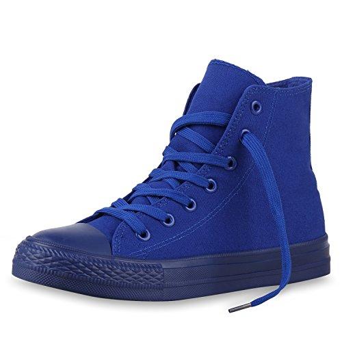 SCARPE VITA Damen High Top Sneakers Trendfarben Sportschuhe Stoffschuhe Blau Blau 36
