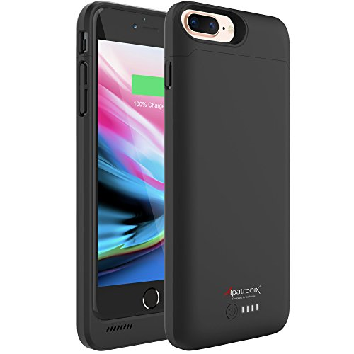 iPhone 8 Plus/7 Plus/6S Plus/6 Plus Battery Case, 5000mAh Extended Charger Case with Wireless Charging Compatible with iPhone 8 Plus, iPhone 7 Plus, iPhone 6S/6 Plus (5.5 inch) BX190plus - Black
