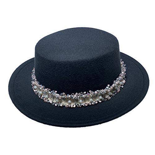 JK Home Gorra de fieltro para mujer y hombre, diseño retro de los años 20, estilo retro de la iglesia de los años 20, trilby Fedora Bowler Hat & Bowknot Band