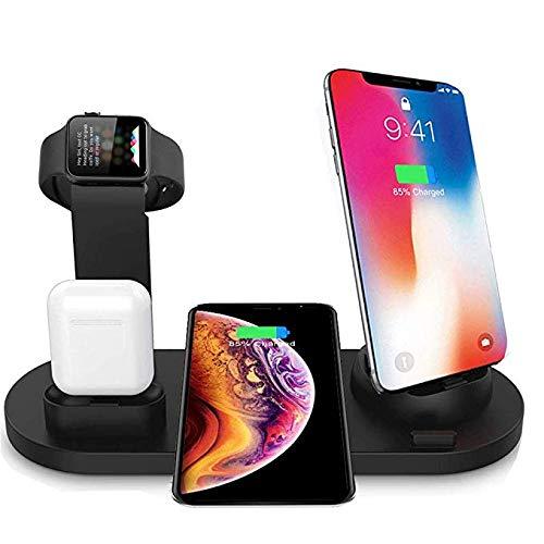 Cargador inalámbrico 4 en 1 Estación de Base de Carga inalámbrica para AirPods 1/2 y Relojes, Cargador inalámbrico rápido Qi Compatible con iPhone X/XS/XS/XR/8 Plus/Samsung Galaxy S10 / S9