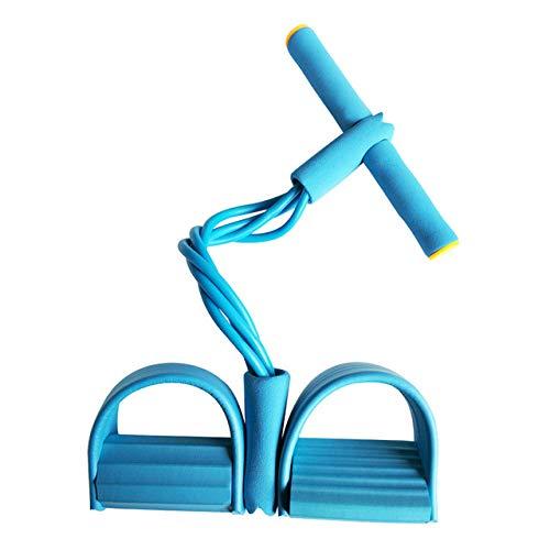 LINGZIA 4 Resistanc Elastic Pull Ropes Exerciser Rudergerät Belly Resistance Band Home Gym Sporttraining Elastic Bands für Fitnessgeräte, Blau