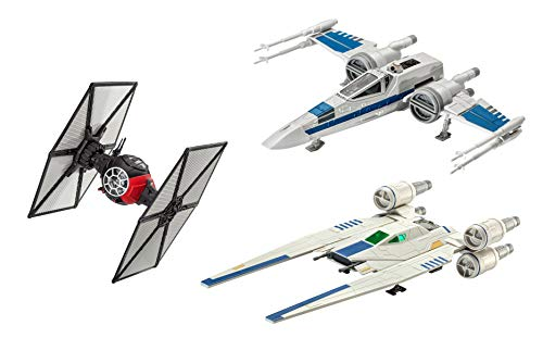 Revell Build & Play S2183 Star Wars First Order Special Forces TIE, Resistance X Rebel U-Wing Fighter Kombi-Set mit 3 bekannten Raumschiffen zum Bauen und Spielen, Mehrfarbig