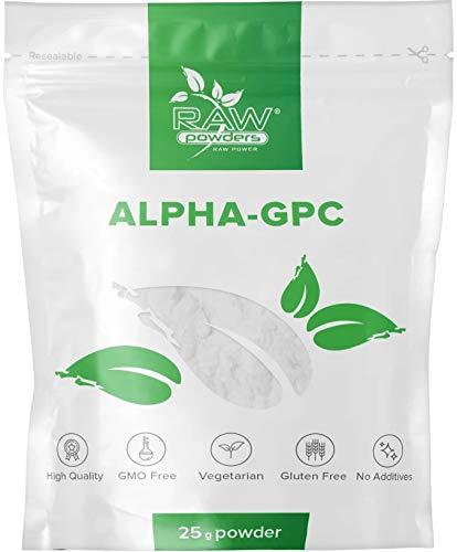 Alpha GPC Pulver 25g (98-99% starke) Bioverfügbarer Cholin | Nootropic | Für Gedächtnis, Konzentration und Fokus | Wachstumshormon, Brain Booster | Dopamin und Serotonin Bildung