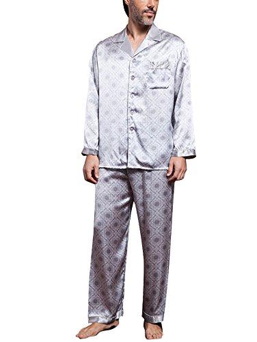 BININBOX® Soie Pyjama de Soie Hommes de Pyjama pièce survêtement des Hommes de Luxe (Français M/Fabricant GR.XL)