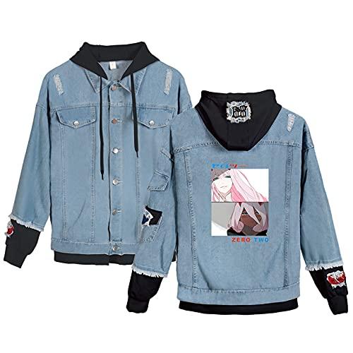 ZOSUO Darling in The FranXX Chaqueta Vaquera con Capucha Unisex Anime Zero Two Abrigo Sudaderas con Botones para Adultos Cosplay Jeans Coat,Negro,4XL