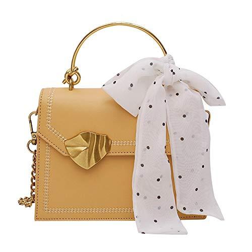 Lhh Bolso de señora Fashion Handbag PU Tote Top Handle de Hombro con pañuelo