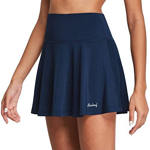 BALEAF Women's High Waisted Tennis Skirt Golf Active Sport Running Skorts Skirts Ball Pockets Navy L