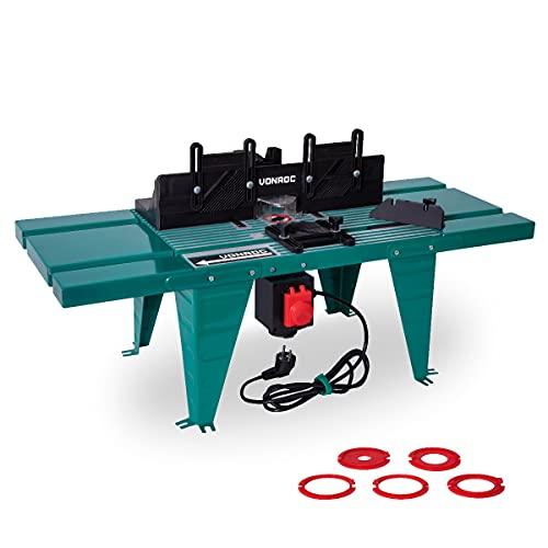 VONROC Mesa para fresadora - Universal - Para fresadoras con placa base de hasta Ø155mm y hasta 1800W de potencia