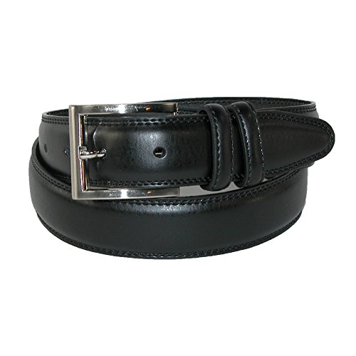 Aquarius Men's Big & Tall Leather Padded Belt with Satin Buckle, 48, Black