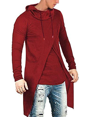 COOFANDY Men's Slim Fit Hoodie Lightweight Hooded Sweatshirt Casual Hip Hop Long Length Cloak Cotton Blend Pullover Red