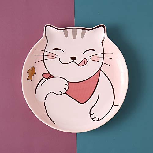 Plato de cena vajilla postre del hogar desayuno de cerámica plato de frutas para niños té de la tarde plato de gato rosa 18cm